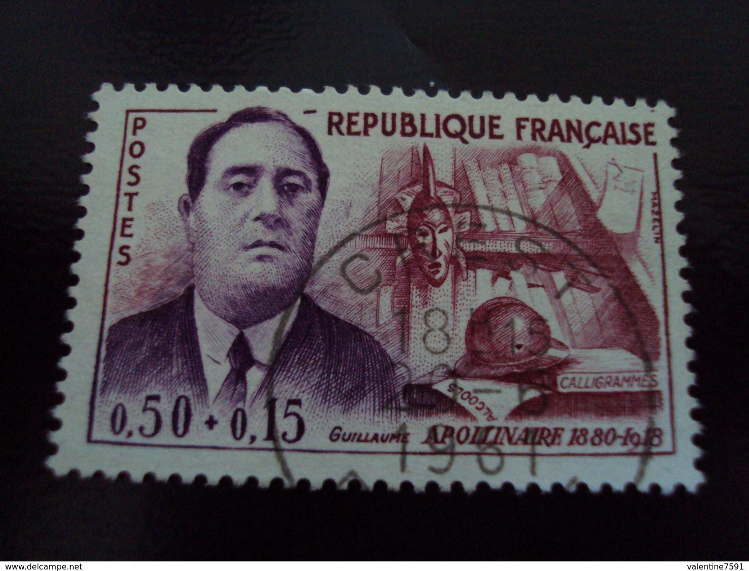 """à Partir De 1960-timbre Oblitéré N°  1300   """" Apollinaire    """"    2.5  Euros   Photo 1 - France"""