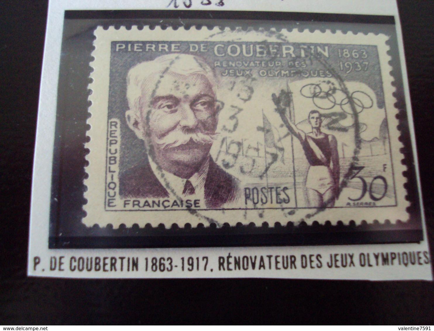 """à Partir De 1950  -timbre Oblitéré N°  1088   """"   De Coubertin   """"    1.50 Photo 1 - Oblitérés"""