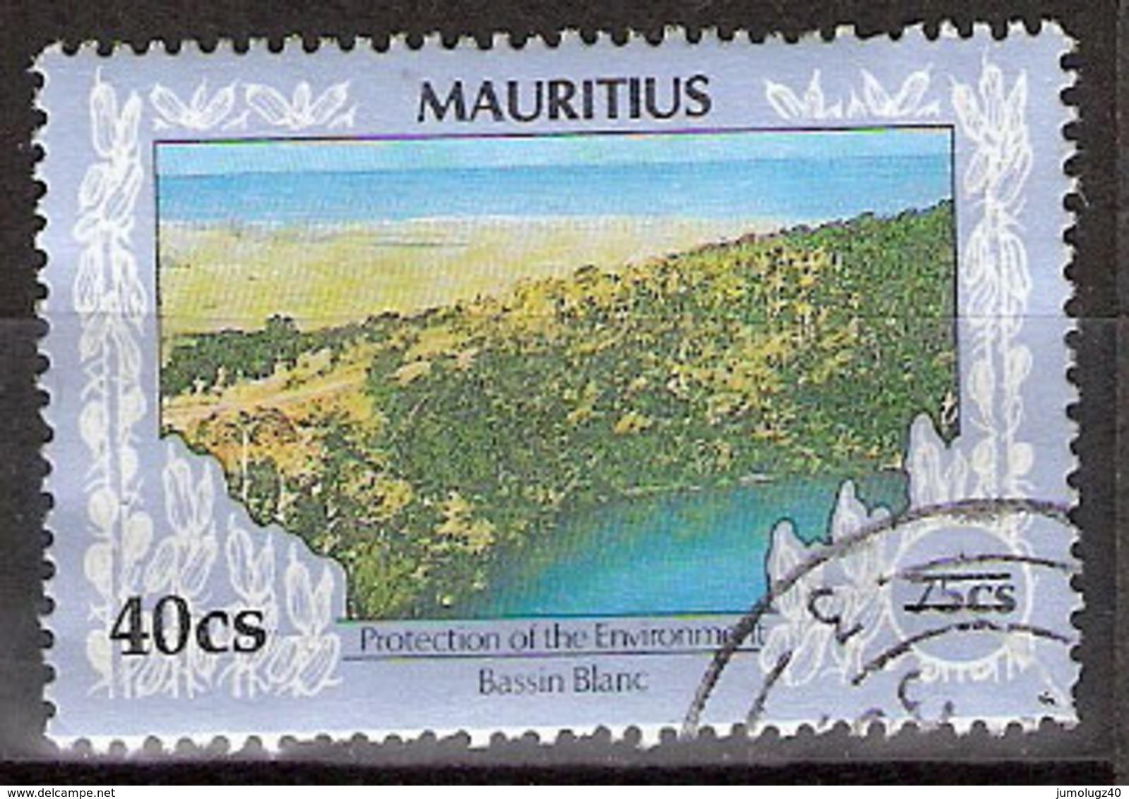 Timbre Maurice 1991 Y&T N°761 ? (08) Oblitéré. Bassin Blanc. 40Cs Sur 75Cs. Cote ??? € - Maurice (1968-...)