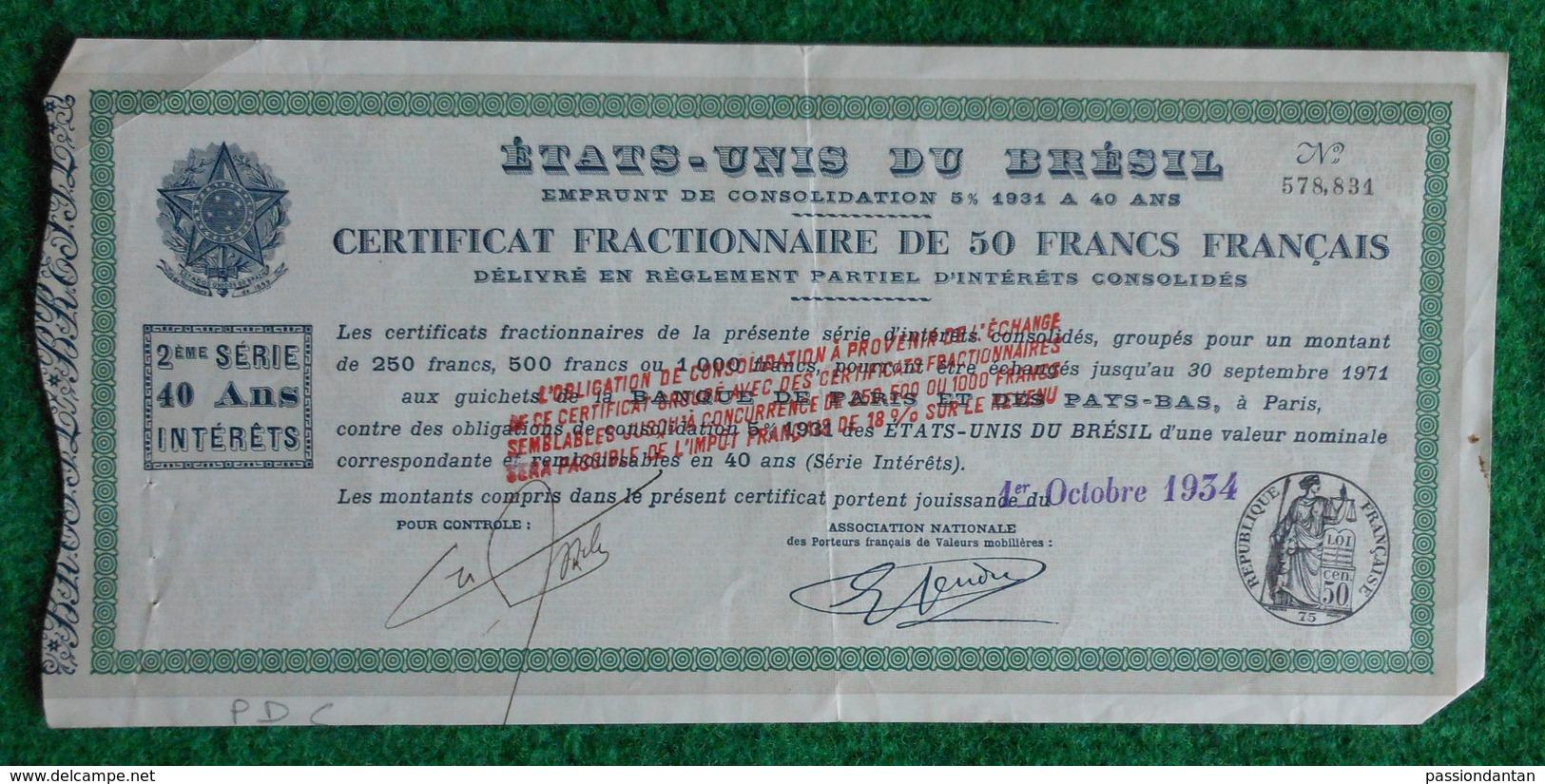 Certificat Fractionnaire De 50 Francs Français - Emprunt De Consolidation - États-Unis Du Brésil - Banque & Assurance