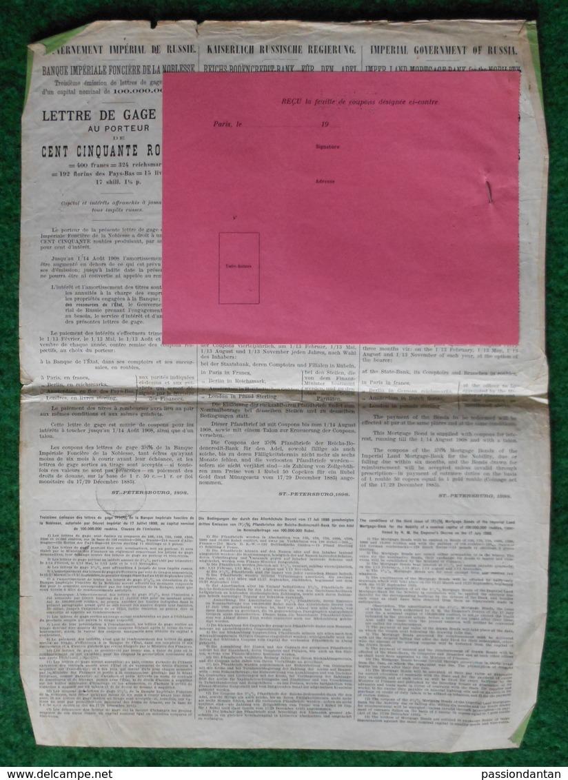 Lettre De Gage De 150 Roubles Au Porteur - Gouvernement Impérial De Russie - Banque Impériale Foncière De La Noblesse - Russie