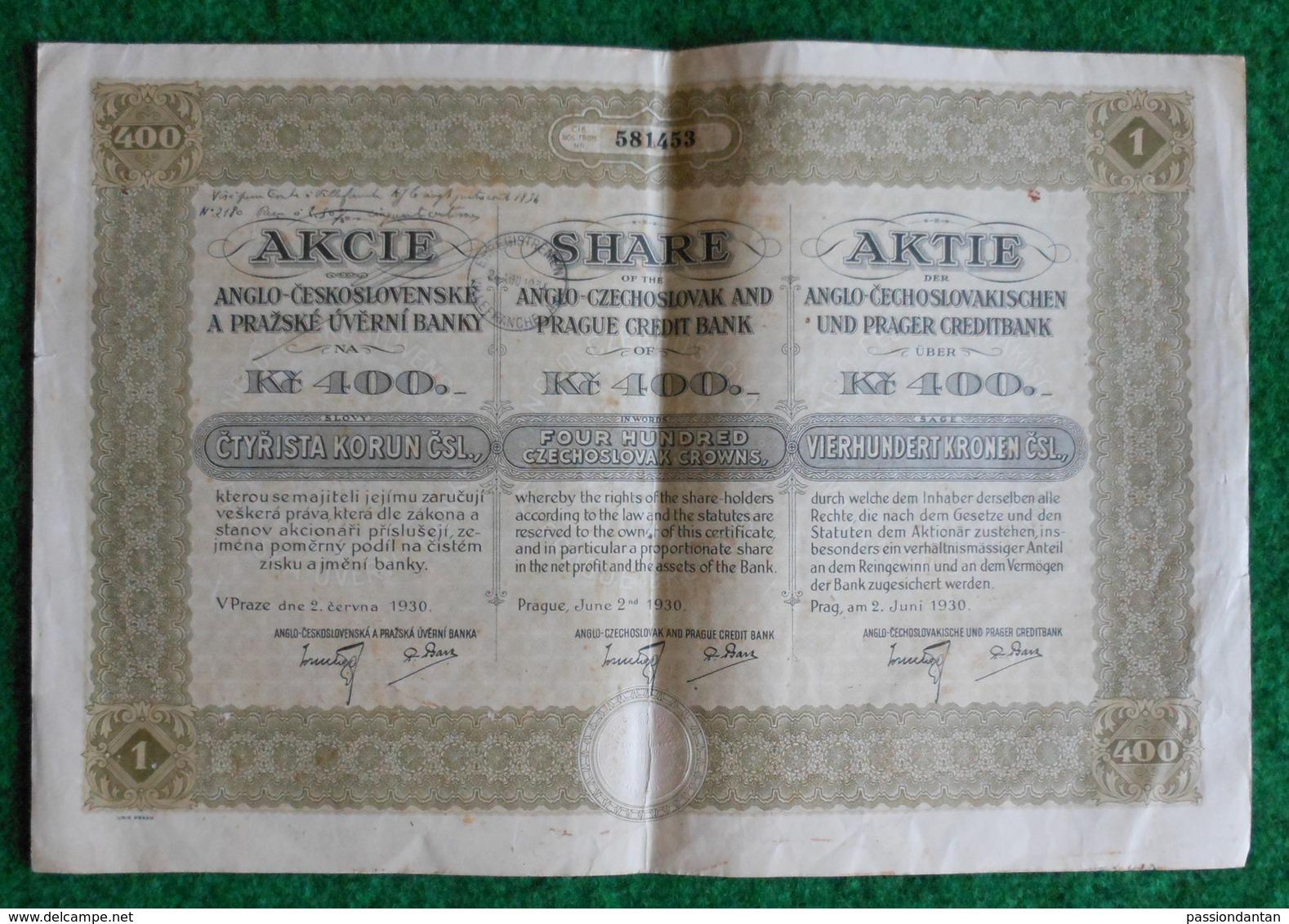 Action De 400 Couronnes Tchèques - Anglo Czechoslovak And Prague Credit Bank - Prague 1930 - Banque & Assurance
