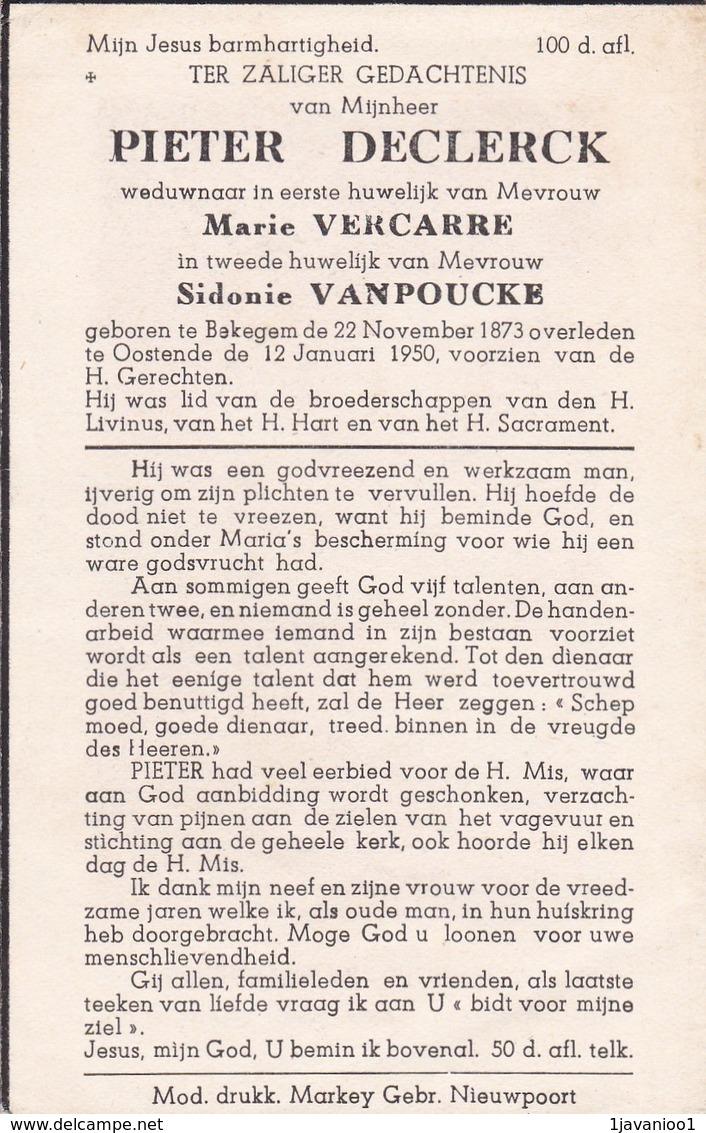 Bekegem, Oostende, 1950, Pieter Declerck, Vancarre, Vanpoucke - Images Religieuses