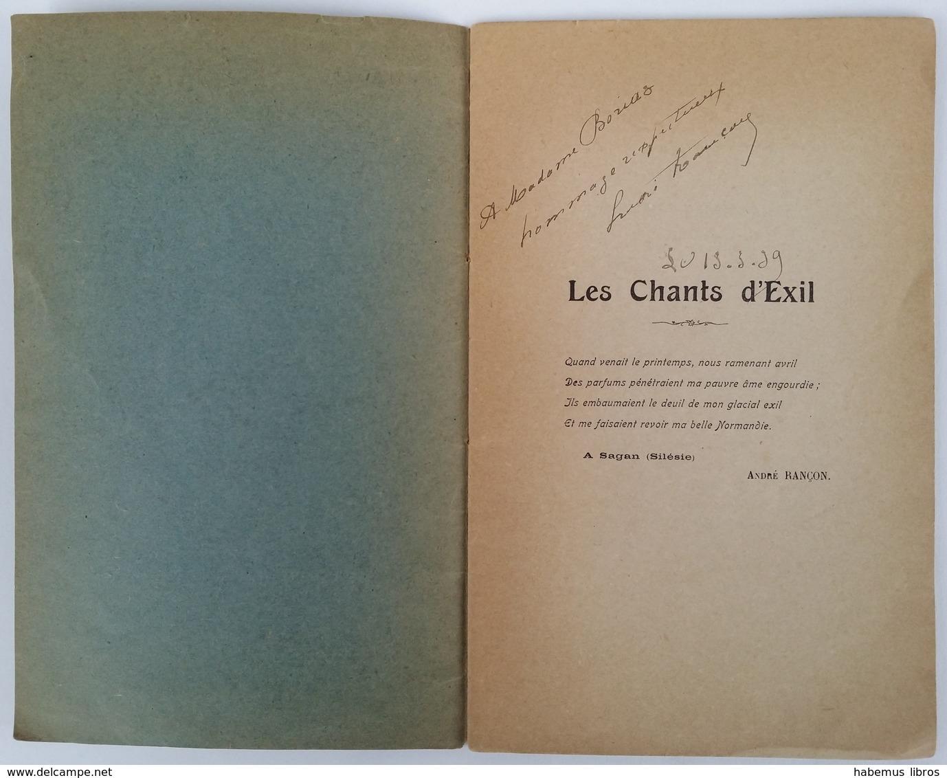 Les Chants D'exil / André Rançon. - Paris : L'Évolution Des Lettres, 1919 - Livres, BD, Revues