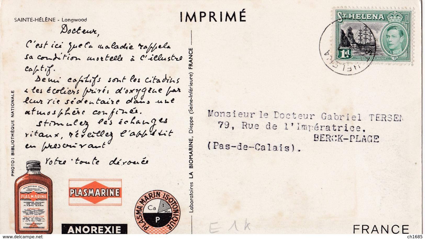 SAINTE HELENE   :  Carte PLASMARINE :  Longwood  . Oblitération Sainte Hélène - Sant'Elena