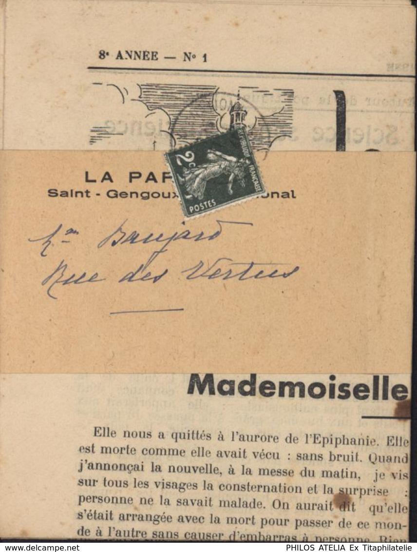YT 278 Semeuse Camée 2ct Seul Sur Lettre Janvier 1940 Sur Bande Avec Son Journal - Storia Postale