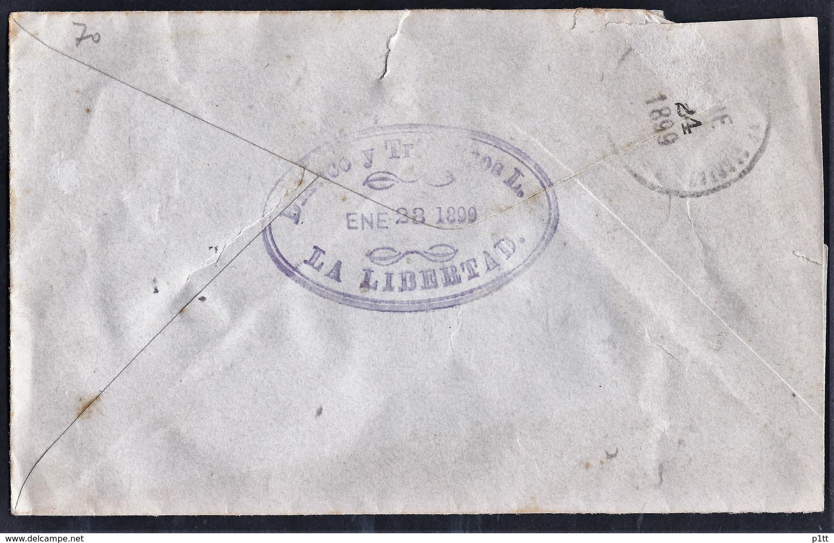 1esa.Local Closed Letter. Post 1899 . San Salvador. Coffee Company. - El Salvador