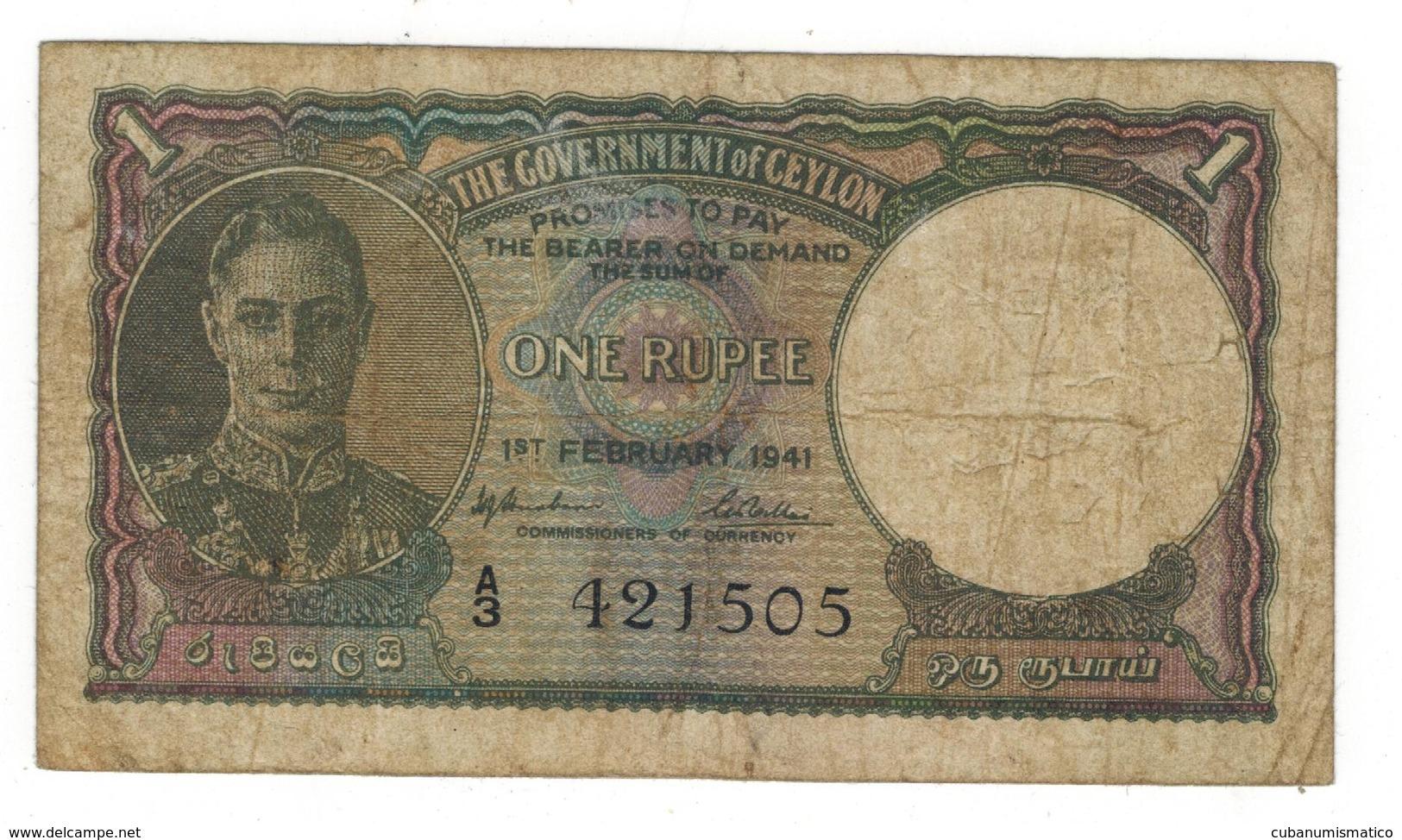 Ceylon (Sri Lanka) 1 Rupee , 1941, F/VF. - Sri Lanka