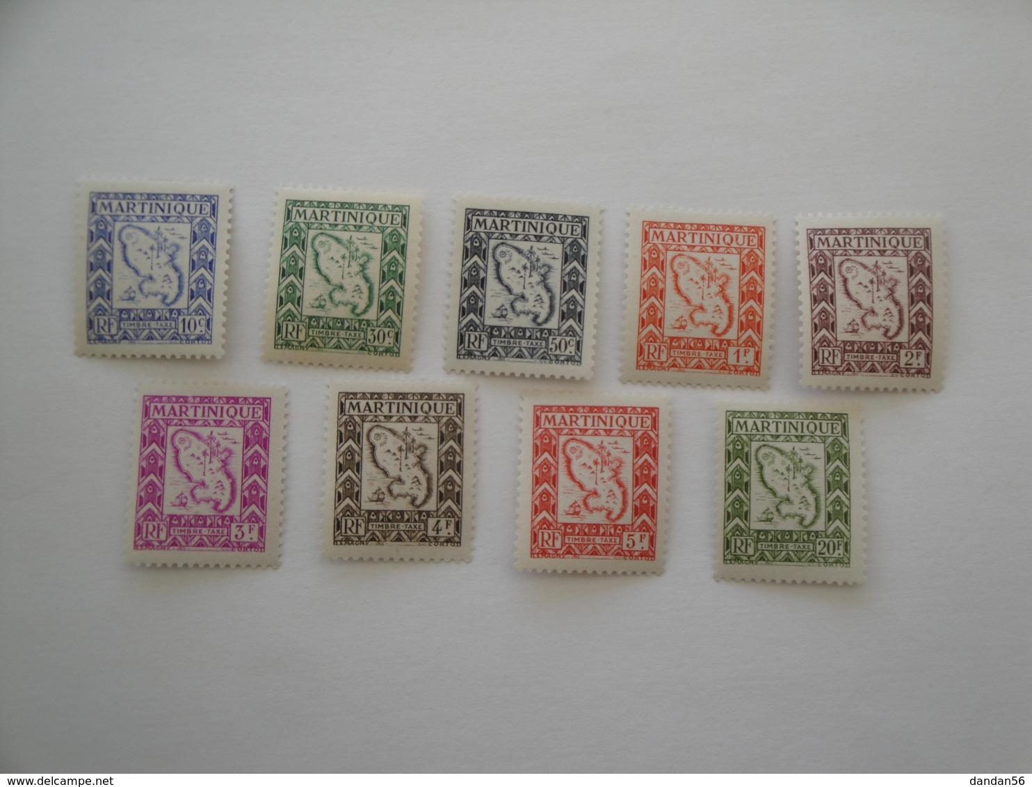 Martinique 1947 Yv T 27/36 ** MNH Carte Bateaux Ships Cote 11.15 € Michel T 27/36 Scott J 37/46 SG D 251/60 - Martinique (1886-1947)