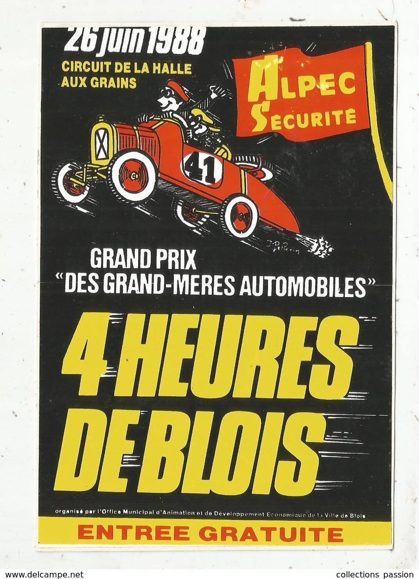 Autocollant , Grand Modéle ,170x115 Mm, Grand Prix Des GRAND-MERES AUTOMOBILES, 4 Heures De BLOIS ,1988.,frais Fr 2.00 E - Autocollants