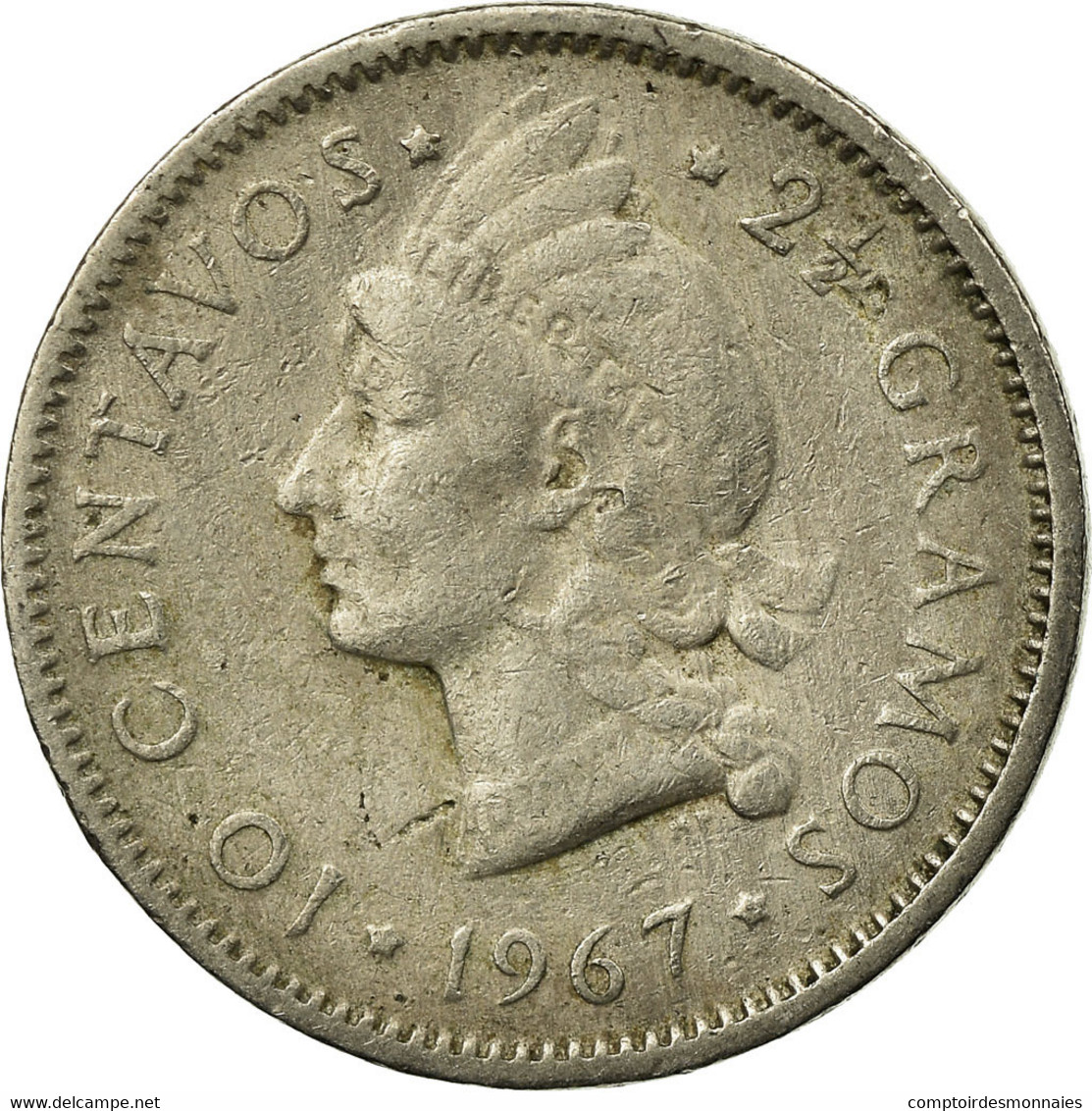 Monnaie, Dominican Republic, 10 Centavos, 1967, TB+, Copper-nickel, KM:19a - Dominicaine