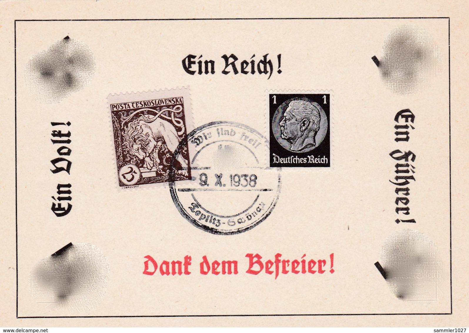 Böhmen Und Mähren Sammlerkarte Teplitz Schönau Sudeten 1938 - Bohemia & Moravia