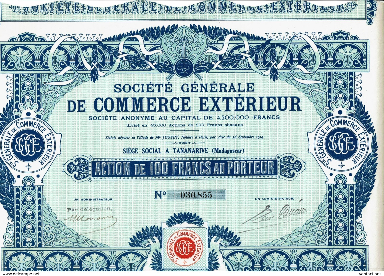 MADAGASCAR-COMMERCE EXTERIEUR.Sté Gle De...TANANARIVE DECO - Shareholdings