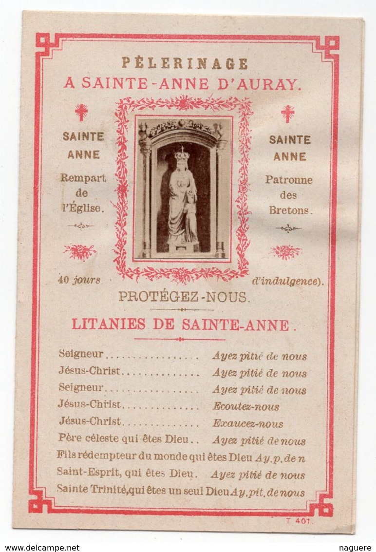 PELERINAGE A SAINT ANNE D AURAY  PATRONNE DES BRETONS   DEPLIANT 2 VOLET - Images Religieuses