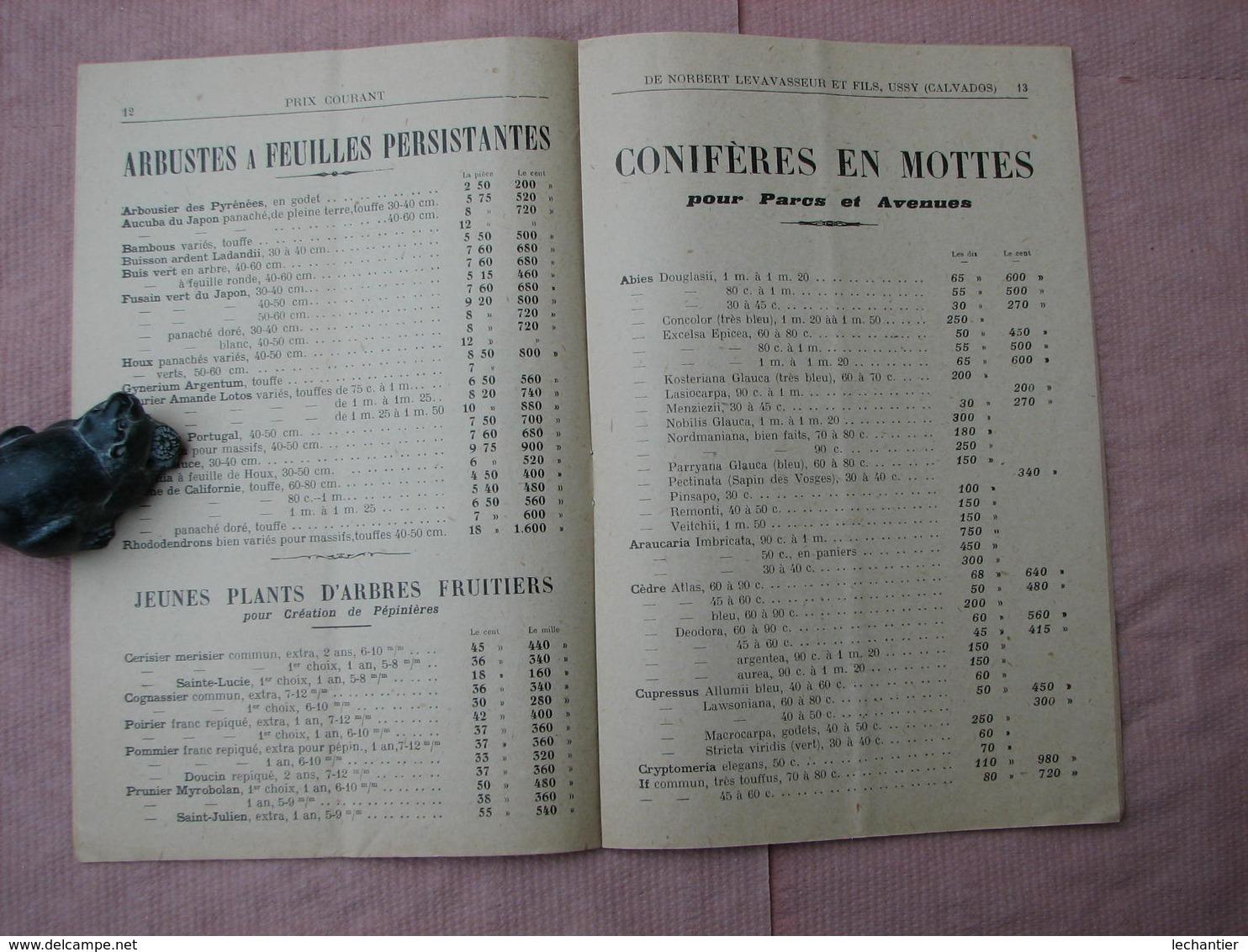 Catalogue 1926-1927 PEPINIERES NORBERT LEVAVASSEUR Et FILS  à USSY ( Calvados) - F. Arbres & Arbustes
