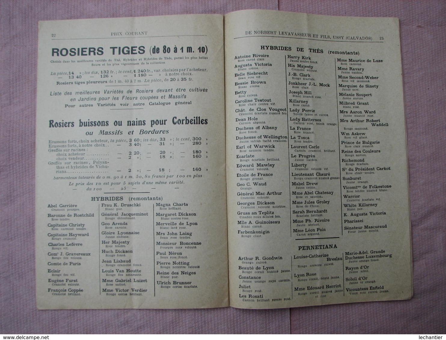 Catalogue 1926-1927 PEPINIERES NORBERT LEVAVASSEUR Et FILS  à USSY ( Calvados) - F. Alberi & Arbusti