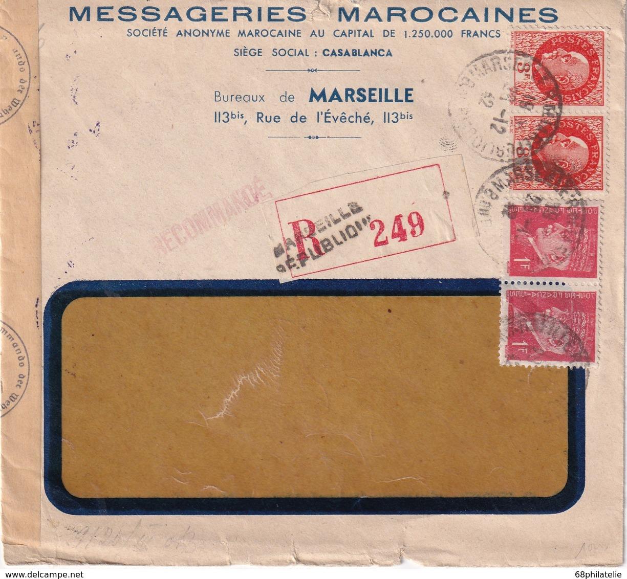 FRANCE 1942 LETTRE RECOMMANDEE CENSURE DE MARSEILLE AVEC CACHET ARRIVEE LARACHE ESPAGNE - Marcophilie (Lettres)