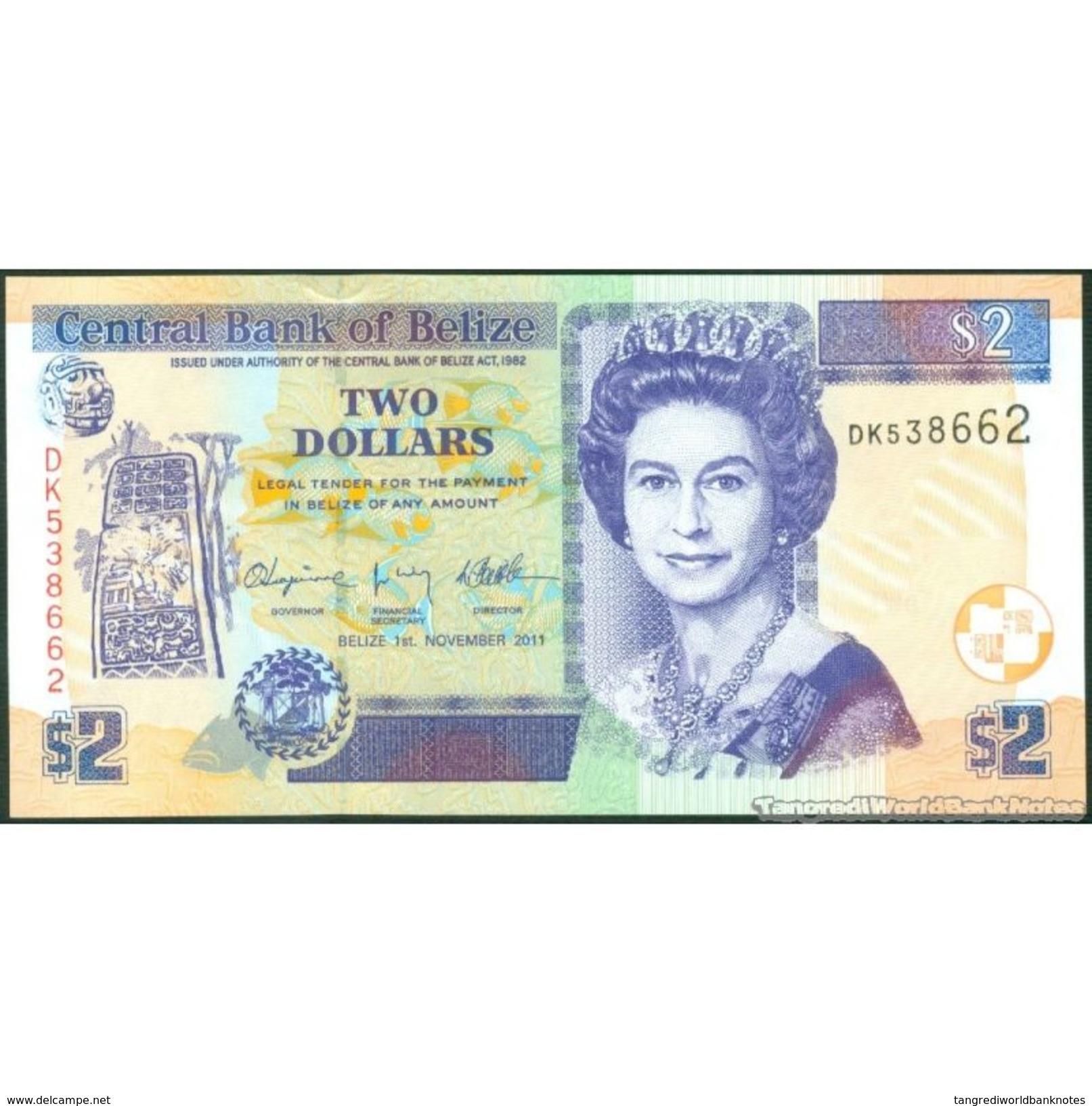 TWN - BELIZE 66d - 2 Dollars 1.11.2011 Prefix DK UNC - Belize