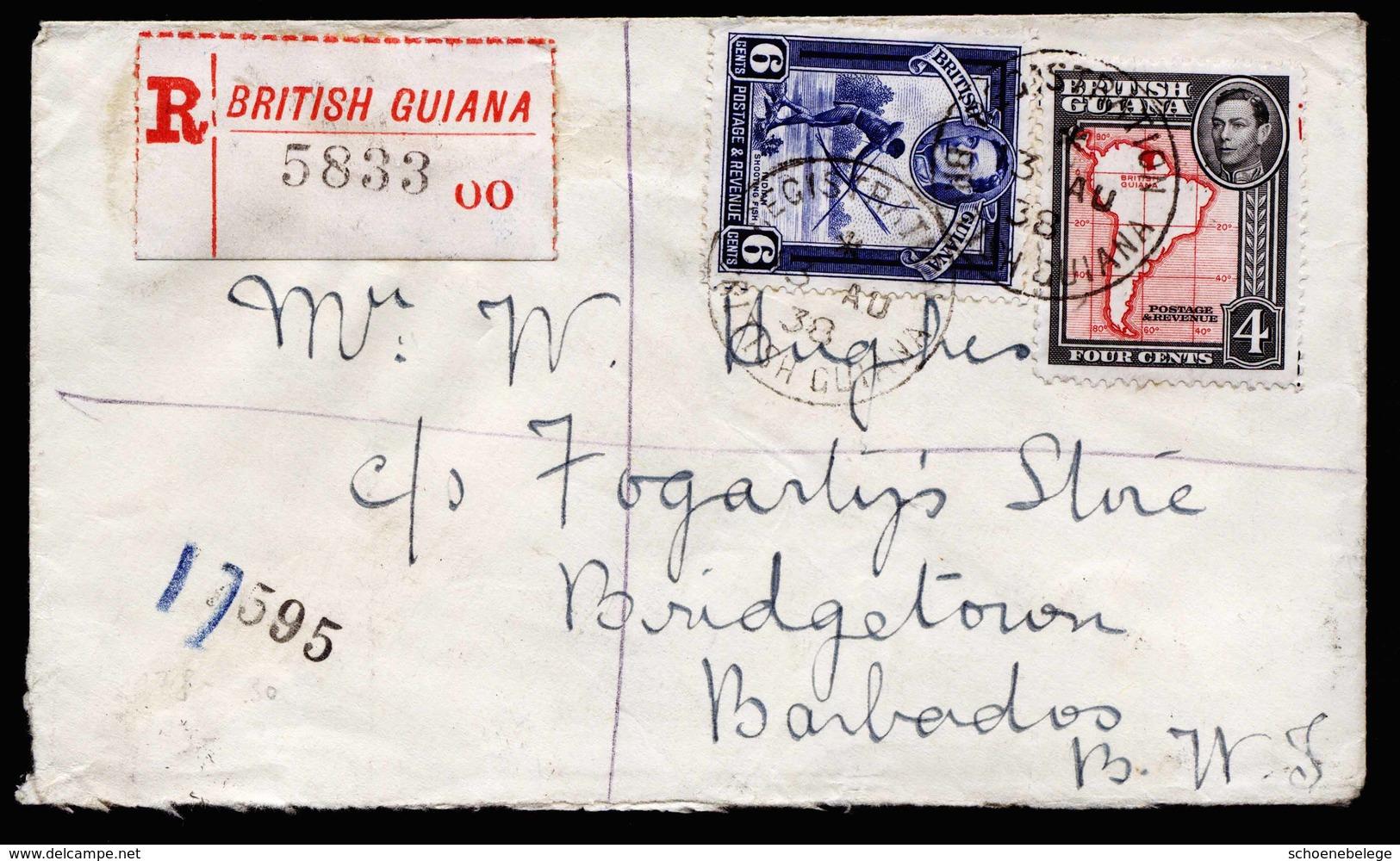 A5945) UK British-Guiana R-Brief 13.08.38 N. Barbados - Britisch-Guayana (...-1966)