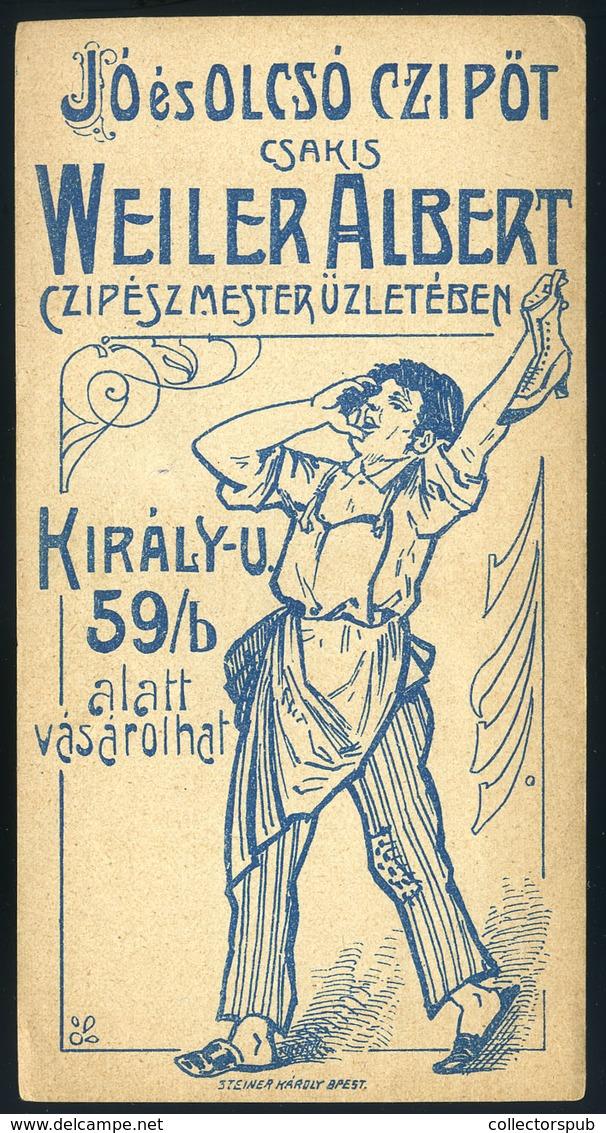 SZÁMOLÓ CÉDULA  Régi Reklám Grafika , Weiler Cipész Mester , Király U. 59  /  Vintage Adv. Graphics BAR TAB, Weiler Mast - Vecchi Documenti