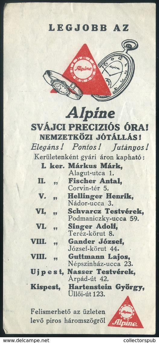 SZÁMOLÓ CÉDULA 1910-20. Cca. Régi Reklám Grafika , Alpine óra, Budapesti órás üzletek Felsorolása  /  Vintage Adv. Graph - Vecchi Documenti