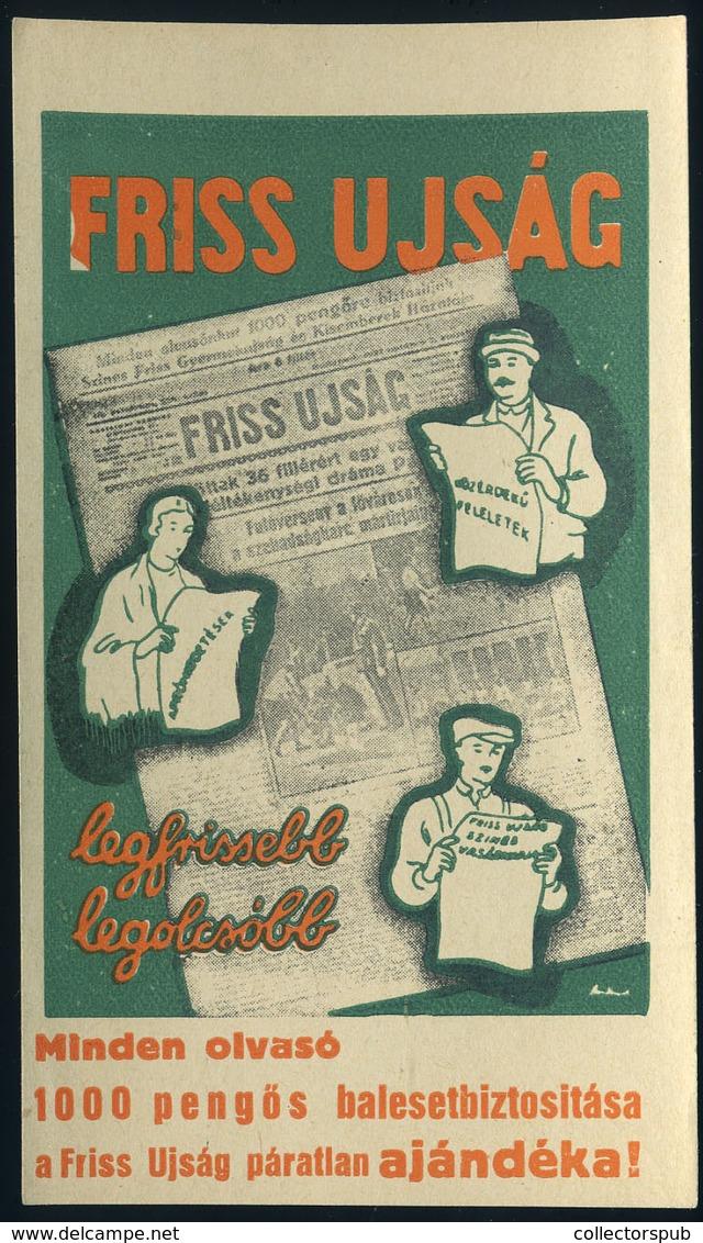 SZÁMOLÓ CÉDULA , Régi Reklám Grafika , Friss Ujság  /  Vintage Adv. Graphics BAR TAB, Fresh Newspaper - Vecchi Documenti