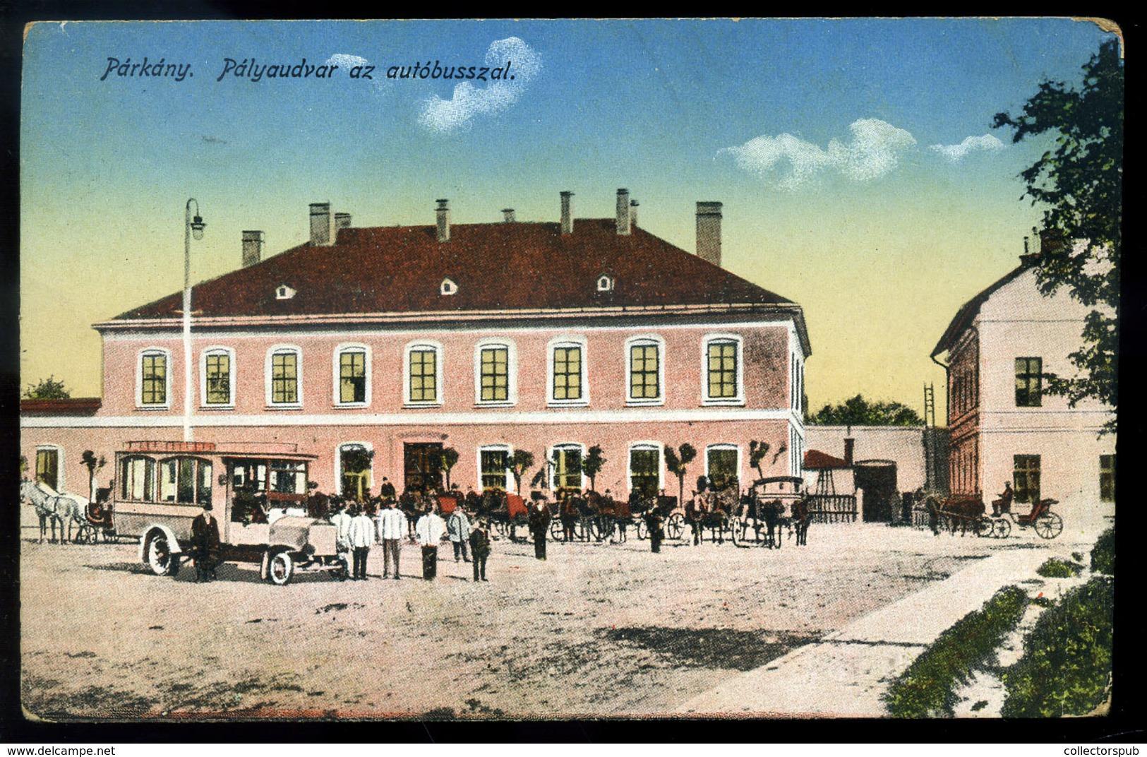 PÁRKÁNY Vasútállomás, Autóbusz , Régi Képeslap  /  Train Station, Bus Vintage Pic. P.card - Gebraucht