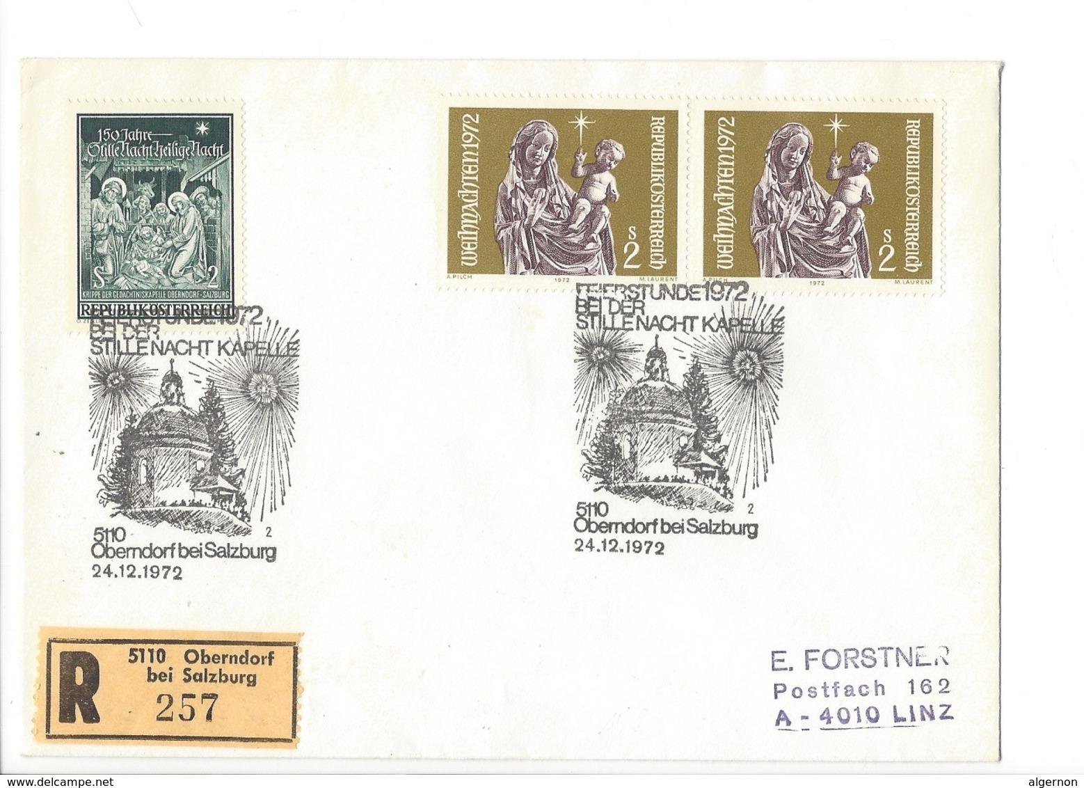 21562 - Christkindl 1972 Lettre Recommandée Oberndorf Pour Linz 24.12.1972 - Noël