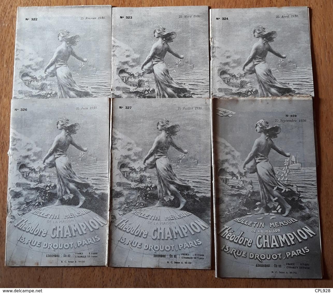 Bulletins Theodore Champion 1930 - Autres Livres