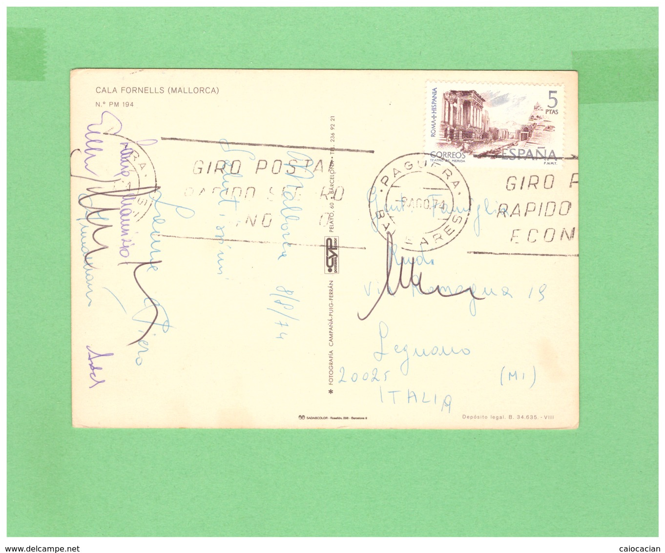 1974 ESPANA AIR MAIL POSTCARD MALLORCA WITH 1 STAMP TO ITALY - 1931-Oggi: 2. Rep. - ... Juan Carlos I
