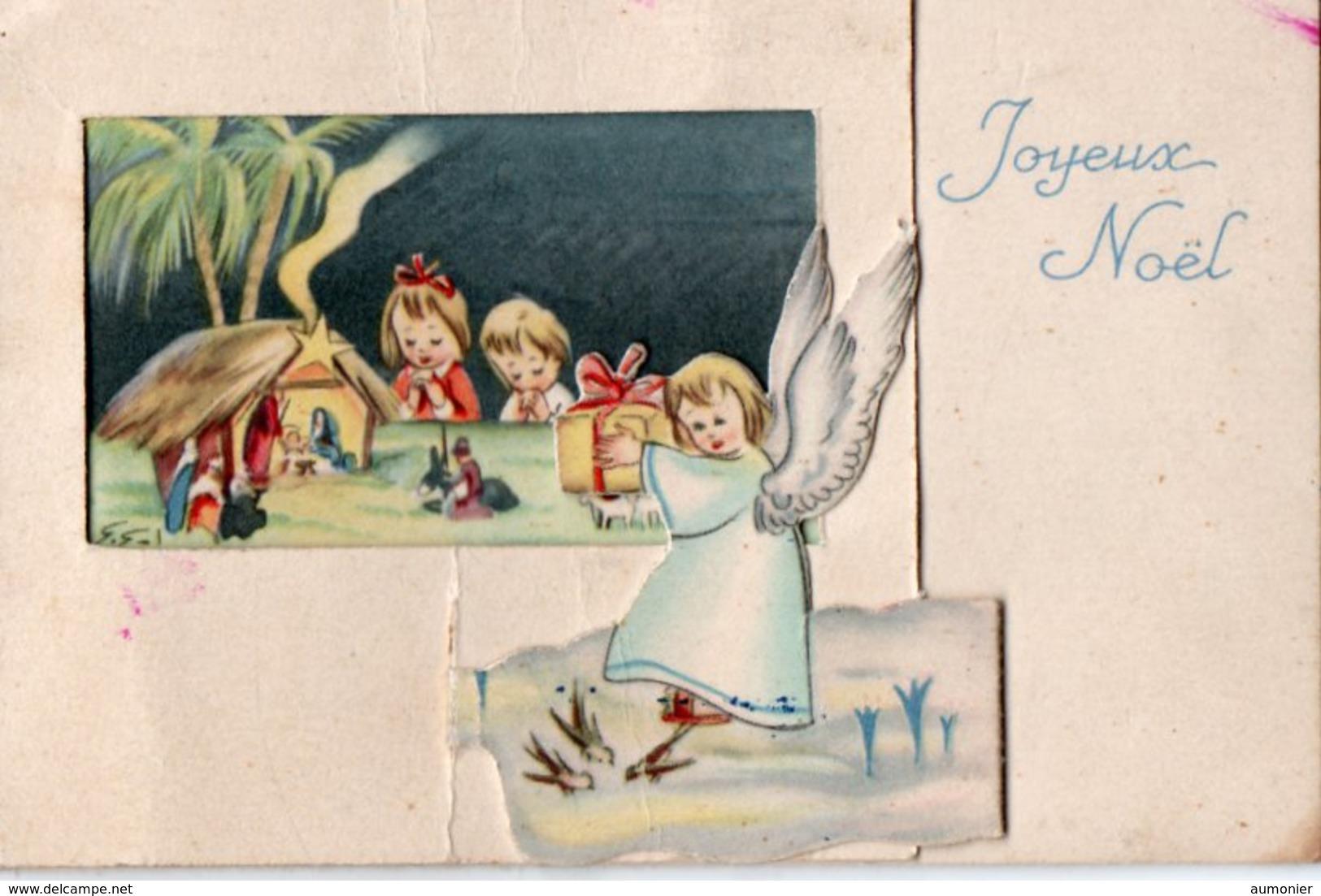 Carte A Volets Joyeux Noel - Ange Et Creche - Noël