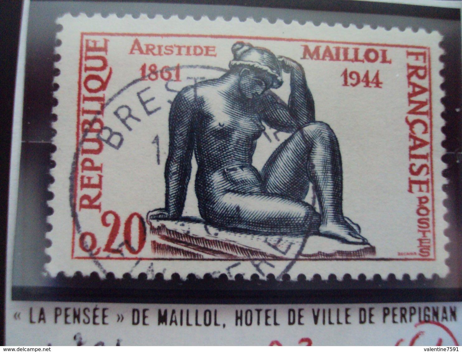 """à Partir De 1960 - Timbre Oblitéré N°1281      """" La Pensée, De Maillol      """"    0.30 - France"""