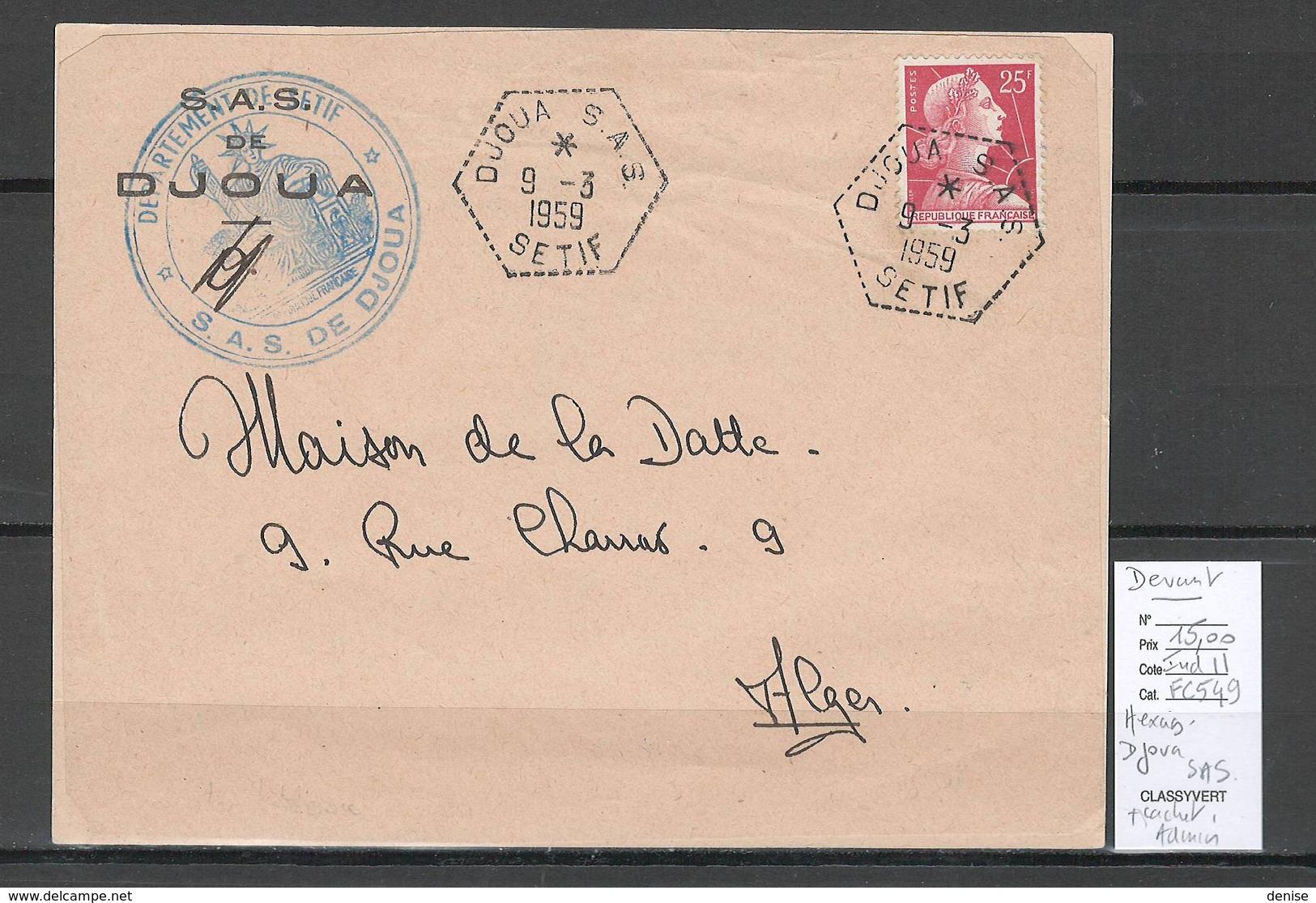 Algerie - Devant De Lettre  - Cachet Hexagonal DJOUA SAS -  Marcophilie - Algeria (1924-1962)