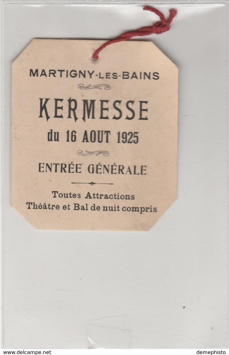 Kermesse : Martiny-les-Bains Du 16 Aout 1925 - Autres Collections