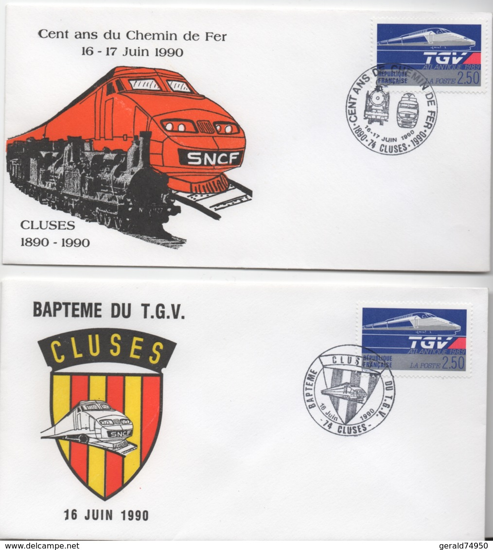 Lot De 2 Enveloppes Commémoratives - Baptème Du TGV Cluses - Centenaire Du Train à Cluses - Altri
