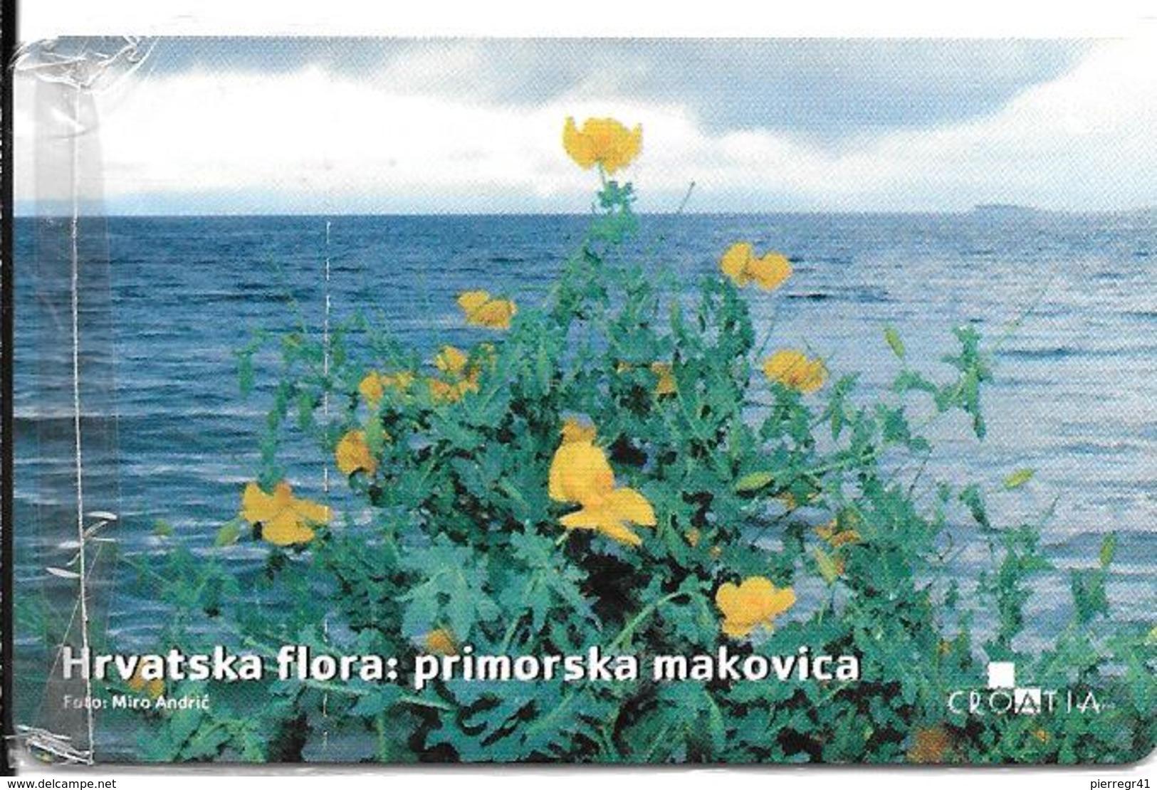 -CARTE-PUCE-CROATIE-FLEURS JAUNES Dites MACADAM-NSB-TBE - Fleurs