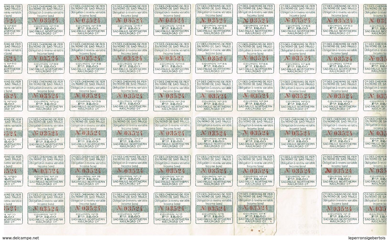 Titre Ancien - Compagnie Des Chemins De Fer Du Nord De Sao Paulo -sao Paulo Northern Railroad Company  - Titre De 1916 - Chemin De Fer & Tramway