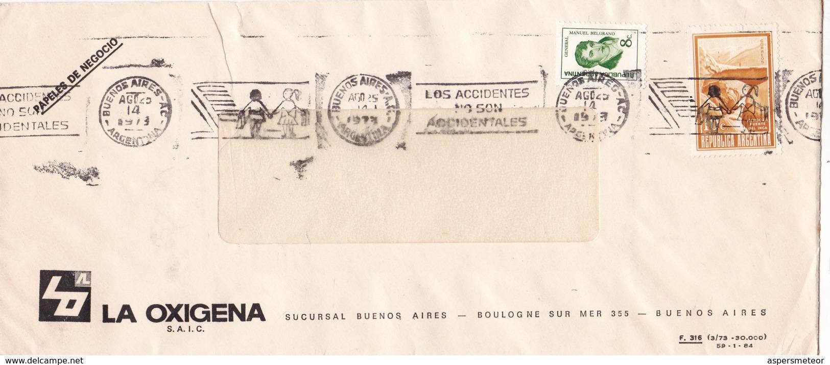 """""""LOS ACCIDENTES NO SON ACCIDENTALES"""" BANDELETA PARLANTE AÑO 1973 SOBRE COMERCIAL LA OXIGENA - BLEUP - Argentina"""