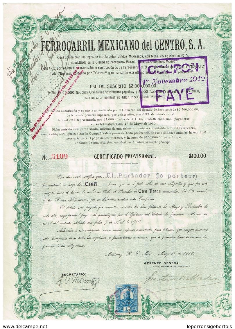 Titre Ancien - Ferrocarril Mexicano Del Centro S.A. - Titre De 1910 - Chemin De Fer & Tramway