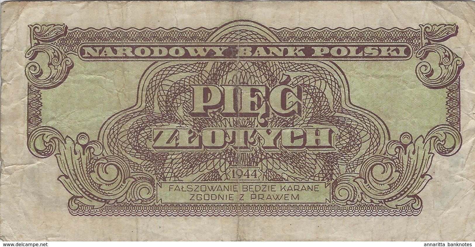 POLAND 5 ZŁOTYCH 1944 P-108a VF ERROR BY PRINTER GOZNAK [PL804a] - Poland