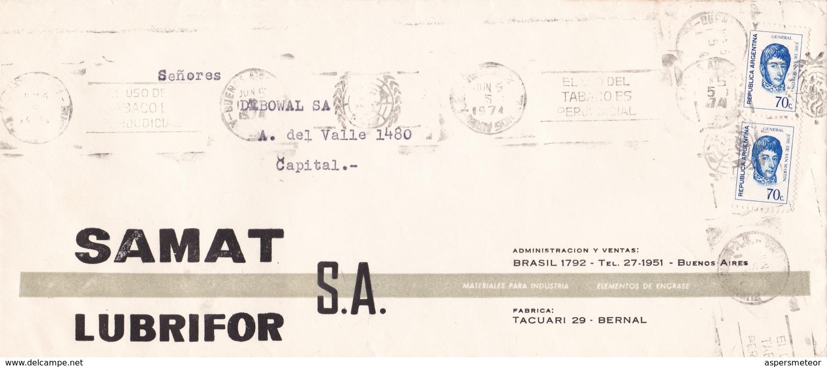 """""""EL USO DEL TABACO ES PERJUDICIAL"""" BANDELETA PARLANTE AÑO 1974 SOBRE COMERCIAL SAMAT LUBRIFOR SA - BLEUP - Argentina"""