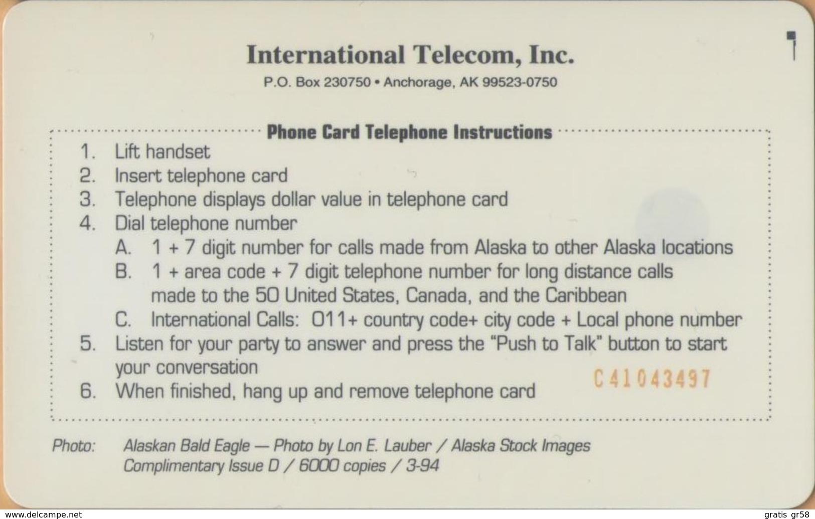 Alaska - USA-ASK-09, Alaskan Bald Eagle - Complimentary, Fauna, 3.50 $, 6,000ex, 3/94, Mint - Altri – America