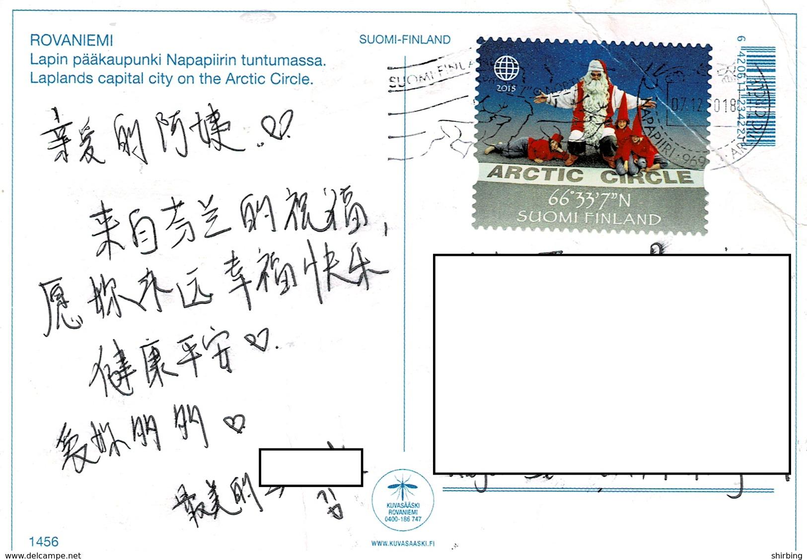 24C : Finland Artic Circle GPS Coordinate,Santa Claus Stamp Used On Rovaniemi Artic Cirlce Postcard - Finland