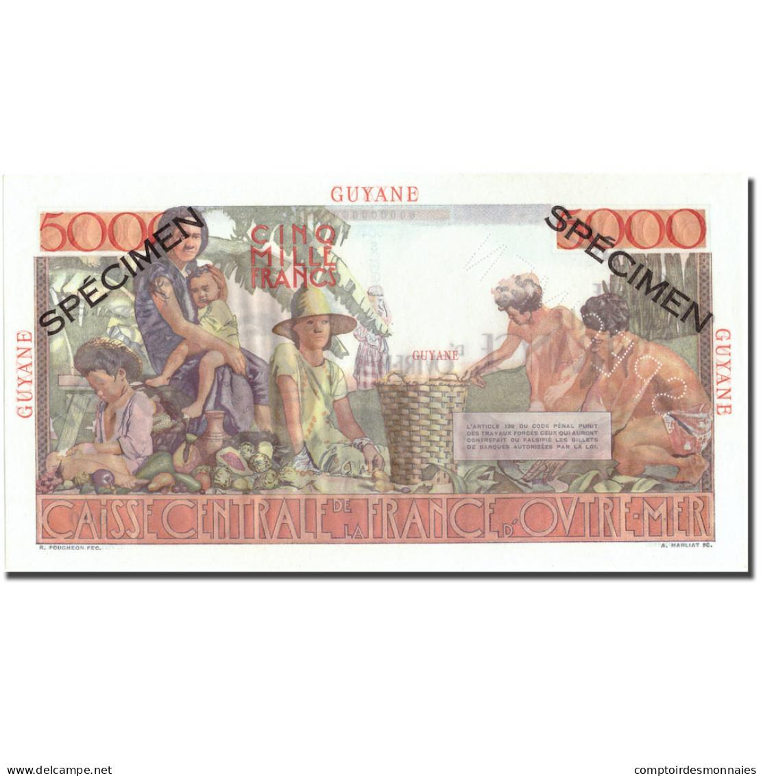 Billet, FRENCH GUIANA, 5000 Francs, Specimen, KM:26s, SPL+ - Specimen