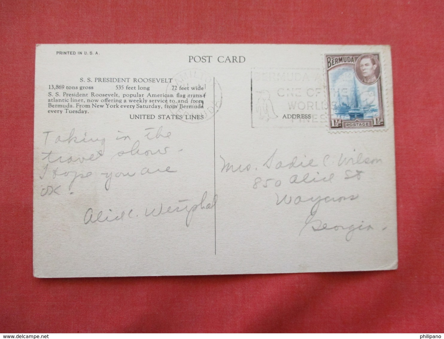 President Roosevelt United States Lines Bermuda Stamp & Cancel   Ref 3206 - Paquebots