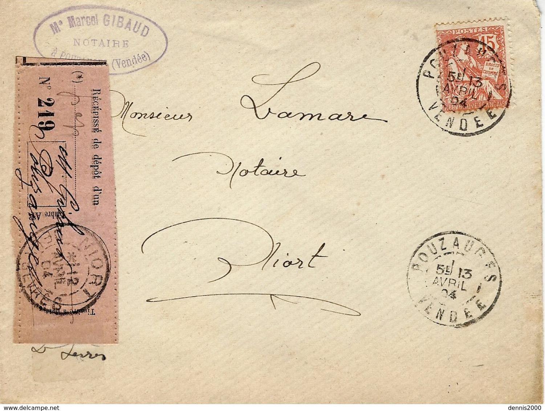 1904- Enveloppe De Pouzauges ( Vendée ) Affr. 15 C Mouchon Avec Récépissé De Dépôt Rose - 1877-1920: Période Semi Moderne