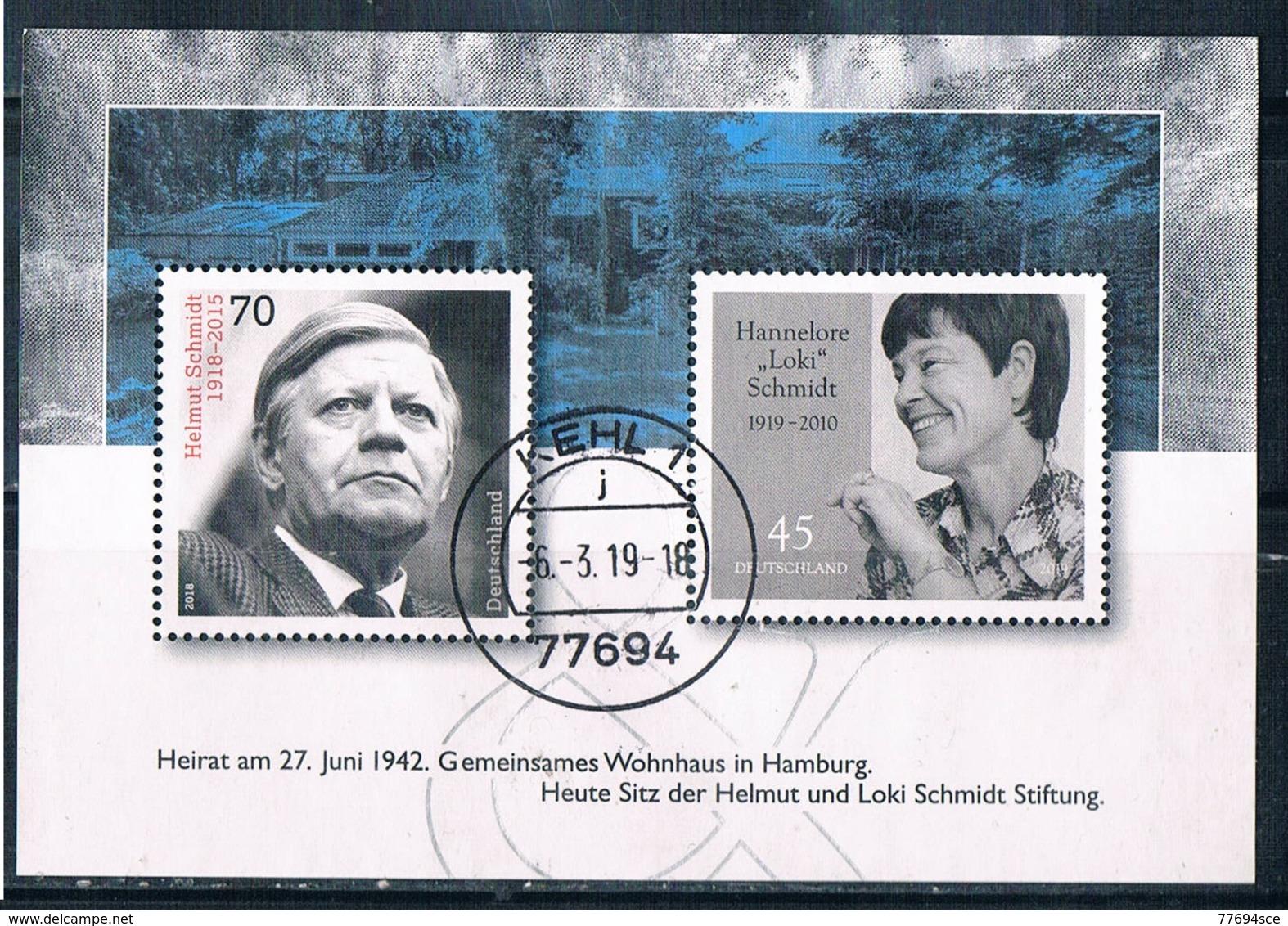 2019  Block  Loki Und Helmut Schmidt - [7] République Fédérale