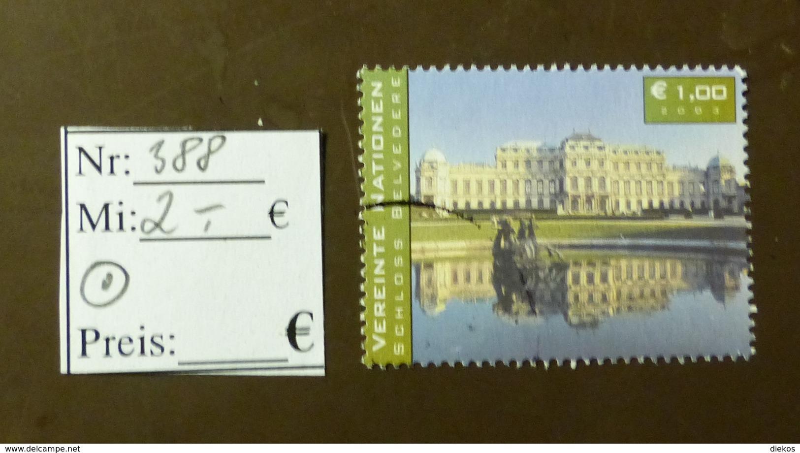 UNO Wien Michel Nr:  388  Gestempelt Used     #4975 - Wien - Internationales Zentrum