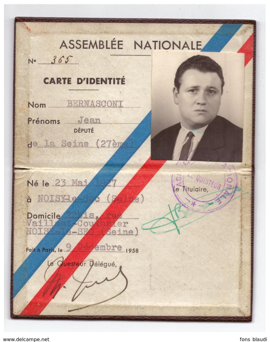 1958 - Carte De Député De La Seine De Jean Bernasconi (Noisy-le-Sec 1927 - Garches 1995) -  FRANCO DE PORT - Vieux Papiers