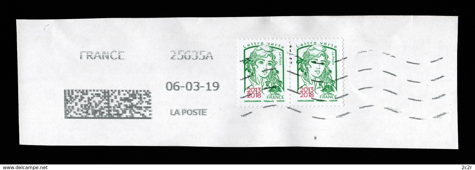 France 2018: N° 5235 En Paire Obl. Sur Fragment - TB - 2013-... Marianne Van Ciappa-Kawena